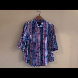 Tommy Hilfiger XL Short Sleeve Classic Plaid Shirt